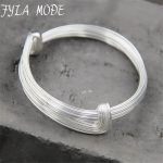 Fyla Mode Hot Sale S925 Sterling <b>Silver</b> DIY Multi Layer Bangle Charms Adjustable Expandable Wire <b>Bracelets</b> Bangles 7mm 23.70G