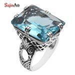 Szjinao Fashion <b>Jewelry</b> Brands Retro Style Antiek Large Blue Aquamarine 925 Sterling <b>Silver</b> Rings for Women lote anillos
