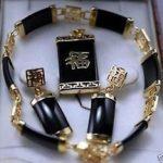 Prett Lovely Women's Wedding Wholesale fashion black GEM lucky pendant & Earrings Bracelet sets silver-<b>jewelry</b> moda