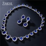 ZAKOL Exquisite Oval Blue Zirconia Surouded Micro Inlay <b>Jewelry</b> Set With Luxury Silver Color For Bridesmaid <b>Jewelry</b> FSSP018