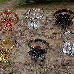 100pcs 16*6mm Flower Pad ring blank Cameo Tray,Bronze/Gold/Silver Ring setting,<b>Handmade</b> DIY Zakka <b>jewelry</b> Finding