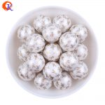 Cordial Design 20MM 100Pcs/Lot Gold Ribbon Printing On White Color Matte Pearl Beads For Kids Chunky DIY <b>Jewelry</b> <b>Making</b>