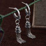 925 Silver Earring 100% S925 Sterling Silver boucle d'oreille Long Tassel Drop Earrings for Women <b>Jewelry</b> <b>Making</b>