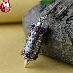 Men Women Pendant Vinatge Six Words Of The Truth Buddhism Turn Wheel <b>Jewelry</b> Natural Lapis Beads 925 <b>Sterling</b> <b>Silver</b> Necklace