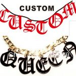 Big Old English Font Personalized Name Necklace Dog Tag Custom <b>Making</b> Fashion Catwalk Style Hiphop Woman <b>Jewelry</b>