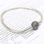 100% 925 Sterling <b>Silver</b> Bead Charm Snake Chain Fit Original Pandora <b>Bracelet</b> with Vintage Seastar Clasp for Women DIY Jewelry