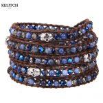 KELITCH <b>Jewelry</b> 1Pc Logo Custom Leather Wrap Bracelet Synthetic Stone Skull <b>Handmade</b> Vintage Women Bracelet Nice Package
