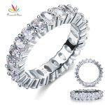 Peacock Star Oval Cut Eternity Solid Sterling 925 Silver Wedding Ring Band <b>Jewelry</b> CFR8069