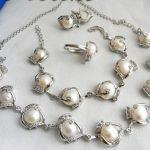 Prett Lovely Women's Wedding shipping>>12MM White Baroque Freshwater Pearl Necklace Bracelet Earring Ring Set silver-<b>jewelry</b>
