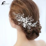 QUEENCO Shinning Crystal Hair Comb Bridal Leaf Hairpins Headpiece Bridal <b>Jewelry</b> <b>Wedding</b> Hair Accessories Party Prom Ornament