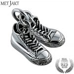 MetJakt Classic <b>Silver</b> Double Canvas Shoes Pendant and 925 Sterling <b>Silver</b> <b>Necklace</b> Men's Punk Jewelry