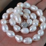 new hot charming Big 11-13MM Natural white Akoya cultured pearl necklace Magnet Clasp Fashion <b>Jewelry</b> <b>Making</b> Design 18″ W0240