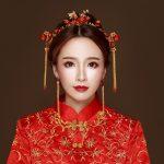 Red Rhinestone Crystal Headdress Hair <b>Jewelry</b> Set Vintage Chinese Wedding Bridal Hair Sticks <b>Handmade</b> Women Costume Step Shakes