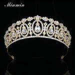 Minmin Shiny Crystal Rhinestone Flower Wedding Tiaras and Crowns Gold-color Classic Bridal Hair <b>Jewelry</b> Accessories MHG109