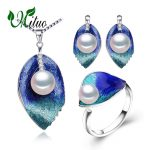 MITUO Pearl Jewelry sets 925 Sterling <b>Silver</b> stud <b>earrings</b>,natural Pearl leaf necklace for women love Cloisonne <b>earrings</b> ring