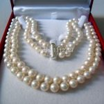 2 Rows 8-9MM WHITE AKOYA SALTWATER PEARL NECKLACE 17-18″ beads Hand Made <b>jewelry</b> <b>making</b> Natural Stone YE2091 Wholesale Price
