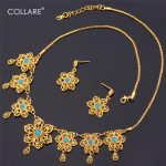 Collare Choker Turkish <b>Jewelry</b> Sets For Women Gold Color Wedding Bridal Natural Stone Flower Earrings <b>Necklace</b> Sets S114