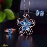 KJJEAXCMY boutique jewels 925 sterling <b>silver</b> inlaid with blue topaz ring + pendant + <b>earrings</b> necklace jewelry set with <b>silver</b>