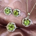 Natural green peridot gem <b>jewelry</b> sets natural olivine Pendant ring Earrings 925 <b>silver</b> Elegant round Sunflower women <b>jewelry</b>