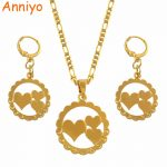 Anniyo Three Heart Pendant Necklaces Earrings Party sets Gold Color Hearts <b>Jewelry</b> Gifts #118306