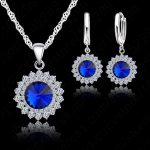 JEXXI 925 Sterling Silver With Cubic Zircon Sun Flower Pendant Necklace+Lever Back Earring Woman Party <b>Jewelry</b> Sets 6 Colors
