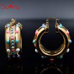 Sunny <b>Jewelry</b> Trendy New Arrivals <b>Jewelry</b> Earrings 2018 Big Hoop <b>Fashion</b> Earrings For Women Colorful Doughnut Ball For Wedding