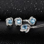 <b>silver</b> gemstone jewelry set hot sale MEDBOO 925 sterling <b>silver</b> natural blue topaz adjustable ring <b>earrings</b> and pendant necklace