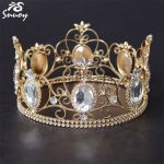 Snuoy Women Pageant Full Round Crowns & Tiaras Big Stone <b>Silver</b>/Gold Crown Wedding Hair Accessories 2018 Luxury Hair <b>Jewelry</b>