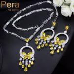 Pera Luxurious Big Yellow Stone Bohemian Women Wedding Party <b>Jewelry</b> Long Dangle Cubic Zirconia <b>Necklace</b> And Earrings Sets J214