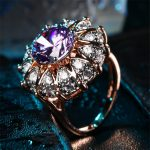 ZHE FAN AAA Luxury Purple Cubic Zirconia Big Ring Rose Gold Color Plated Party <b>Jewelry</b> For Women Christmas Gift Wholesale