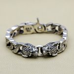 Double Leopard Head Chunk <b>Bracelet</b> Men 64.1g 100% Pure Solid Sterling <b>Silver</b> 925 Top Fashion Antique <b>Silver</b> 925 Jewelry Men Gift