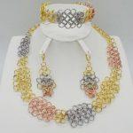 2018 Hot sale dubai gold 3color plat High quality Fashion <b>jewelry</b> big set Africa wedding women <b>jewelry</b> set earring