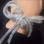 AM French Bands Design Tie Big Bow Butterfly 925 <b>Silver</b> Austrian Crystal <b>Bracelet</b> Bridal jewelry Feather Palm Hand Cuff Bangles