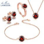 LAMOON Classic Real 925-Sterling-<b>Silver</b> Natural Red Garnet 4PCS Jewelry Sets S925 Fine Jewelry for Women Wedding Gift V007-1