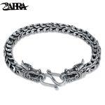 ZABRA Genuine 925 <b>Sterling</b> <b>Silver</b> Couple Dragon Bracelet Men Vintage Punk Rock Bracelets Biker Gothic <b>Jewelry</b> Pulsera Hombre