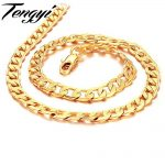 TENGYI NEW Men Golden Color links yellow gold color necklace Classic thick chain 20″ length ,fashion <b>Jewelry</b> wedding gift 441
