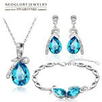 Neoglory Austria Crystal & Rhinestone <b>Jewelry</b> Set Water Drop Design Stylish <b>Necklace</b> & Earrings & Bracelet Trendy Lady Gift