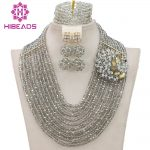 Handmade <b>Silver</b> Crystal Women Necklaces Costume Jewellery Nigerian Wedding African Beads Jewelry Set Free Shipping WB903
