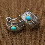 Silver 925 Feather Ring Men Women With Blue/Green Teurquoise Stone 100% Real Sterling silver 925 Material <b>Handmade</b> Craft <b>Jewelry</b>