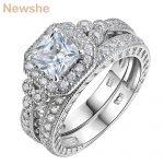 Newshe Genuine 925 Sterling Silver Halo <b>Wedding</b> Ring Set Engagement Band 1.2 Ct AAA Princess CZ Fashion <b>Jewelry</b> For Women JR4970