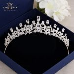Bavoen Clear Zircon Brides Crowns Tiaras <b>Silver</b> Sparkling Crystal Hairbands Wedding Hair Accessories Prom Hair <b>Jewelry</b> Gift