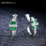 ANFASNI Fashion 925 Sterling Silver Earrings Women <b>Wedding</b> Ear Clip European <b>Jewelry</b> Earrings With Green CZ Stone CGSER0024-B