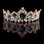 <b>Fashion</b> Hairwear Baroque Crown Red Blue Green Tiara Vintage Gold Hair Accessory <b>Jewelry</b> Wedding Bridal diadem Crown diadema