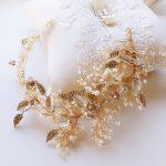 Leaf Hair Ornaments Golden Wedding Accessories Bridal Flower Handmade Pearl <b>Jewelry</b> Beads Bride Headwear Headband Leafs