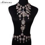 Miwens Women Crystal Bodys Chain Necklace Rhinestone <b>handmade</b> Choker Necklace Multilayer Maxi Statement Necklace <b>Jewelry</b> 6355