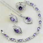 Purple Cubic Zirconia White Zircon 925 Sterling <b>Silver</b> Jewelry Sets For Women Wedding Earrings/Pendant/Necklace/<b>Bracelet</b>/Ring