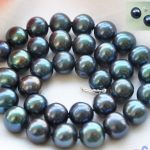 Free Shipping Hot sale HUGE 12mm ROUND PEACOCK BLACK FW PEARL NECKLACE <b>EARRING</b> 17IN