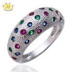 Hutang 100% Natural Blue Sapphire, Ruby & Emerald Solid 925 <b>Sterling</b> <b>Silver</b> Ring Women's Gemstone Fine <b>Jewelry</b>