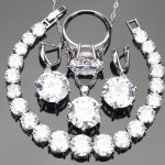 White Zirconia <b>Silver</b> 925 Costume Jewelry Sets For Women Stones Set of Earrings <b>Bracelets</b> Necklaces Pendants Rings Gift Box