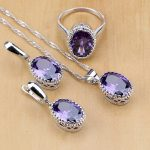 925 Sterling Silver <b>Jewelry</b> Purple Zircon White Crystal <b>Jewelry</b> Sets For Women Earring/Pendant/Necklace/Ring